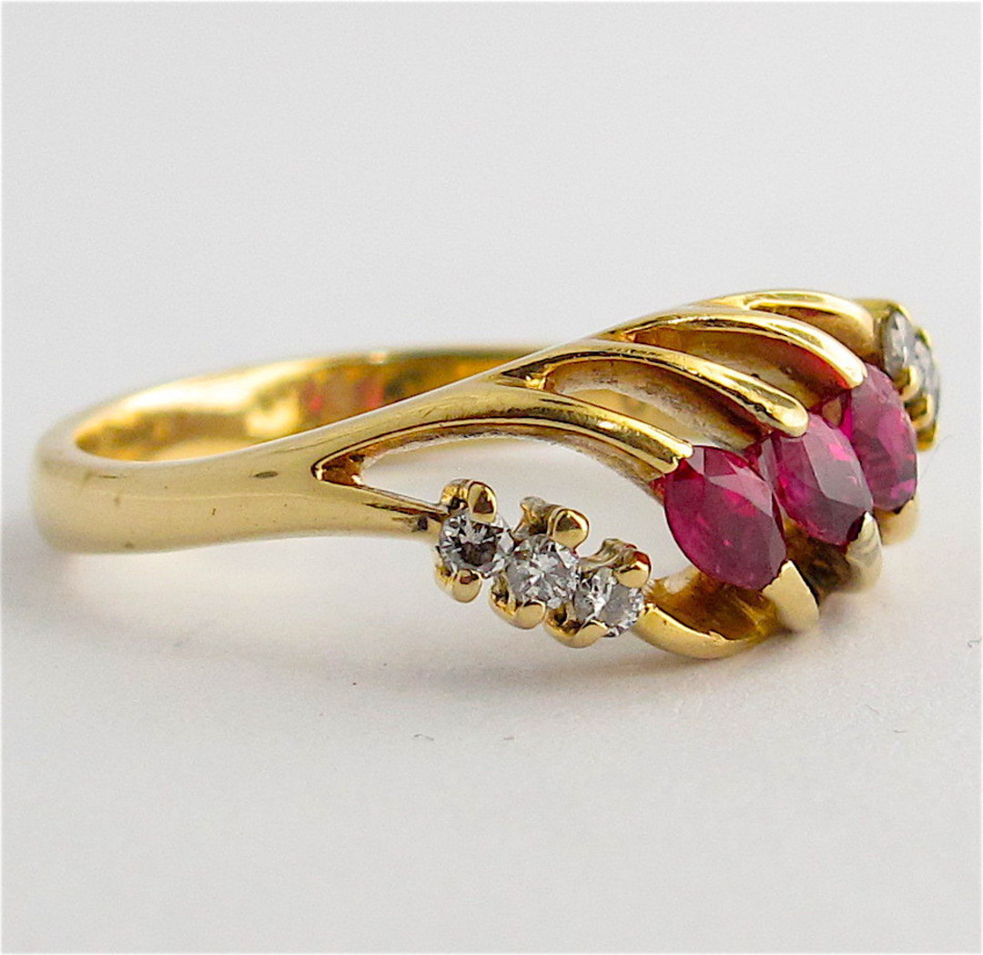 18ct yellow gold natural ruby and diamond dress ring image 1