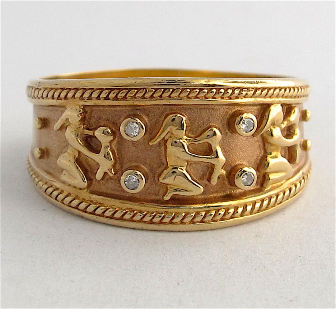 9ct yellow gold unisex wide Egyptian design diamond set ring image 0