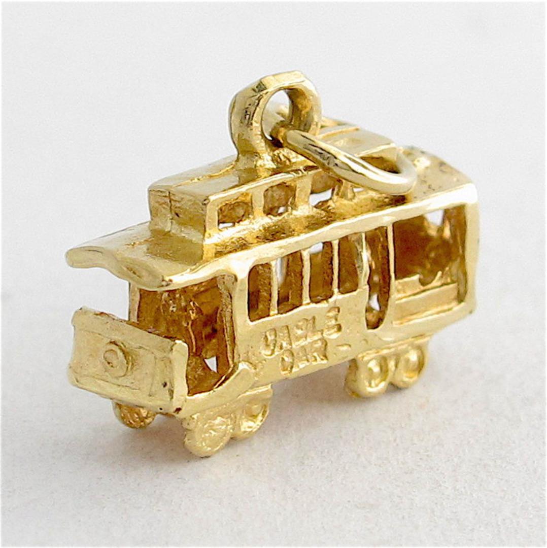14ct yellow gold tram charm image 1