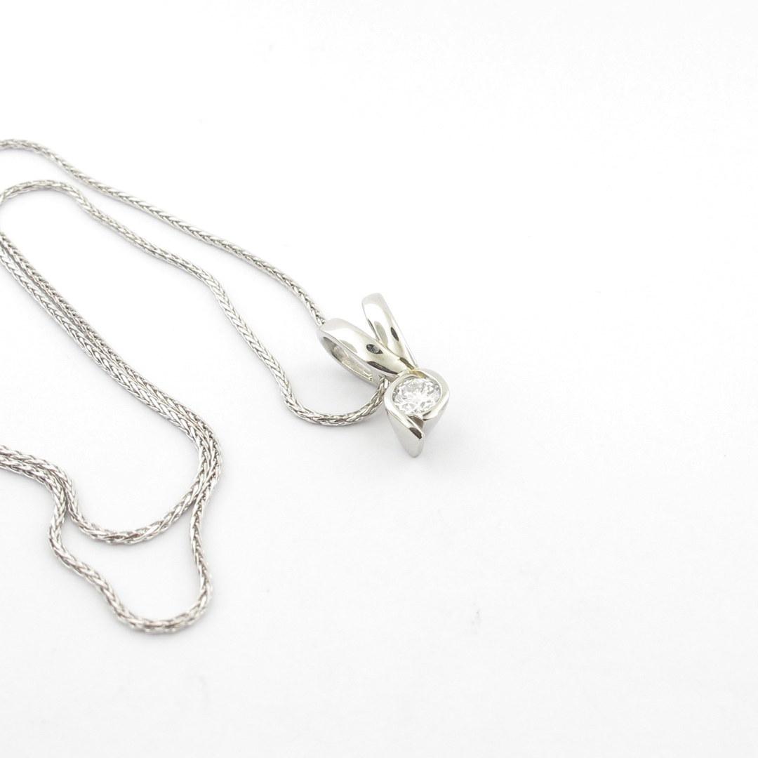 Platinum diamond set pendant with 18ct white gold chain image 0