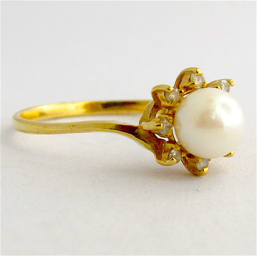 14ct yellow gold cultured pearl and diamond dress ring image 1