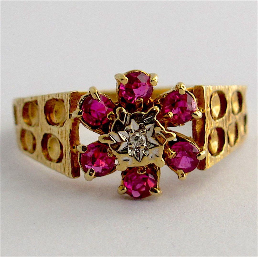 9ct yellow and white gold natural ruby and diamond flower cluster ring image 0