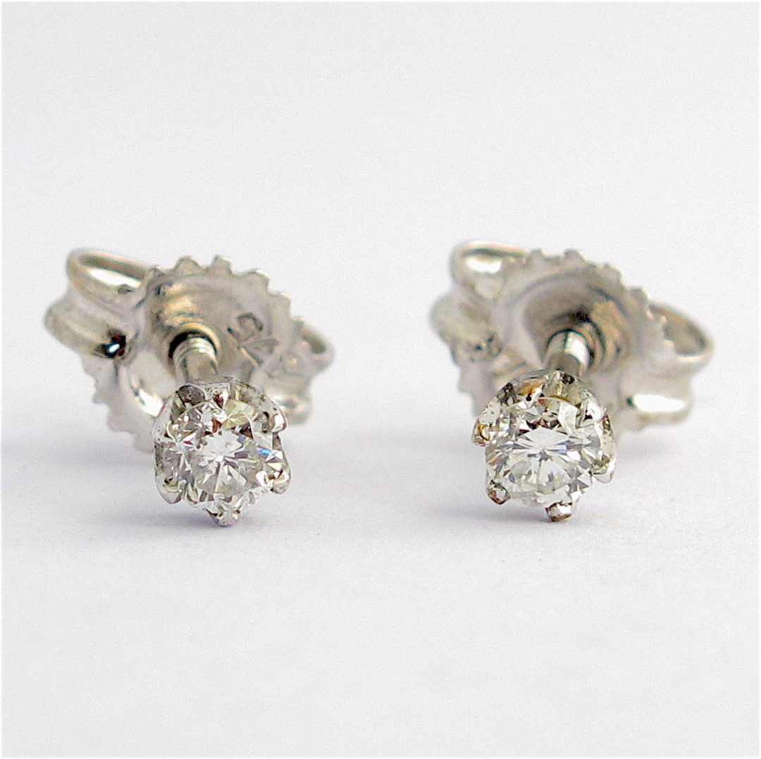 9ct rhodium plated over yellow gold diamond stud earrings with screw backs image 0