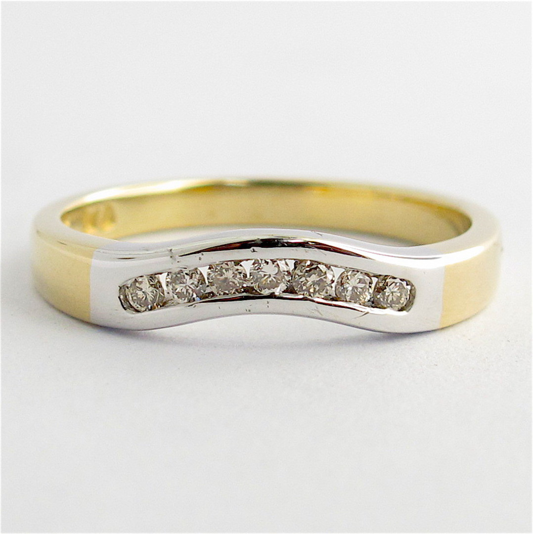 9ct yellow and white gold diamond curved wedding band image 0