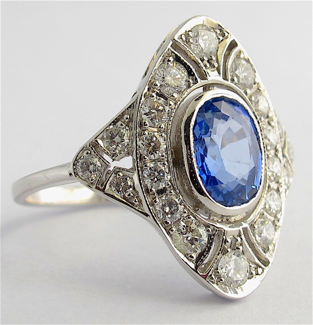 18ct white gold Art Deco style ceylon sapphire and diamond ring image 1