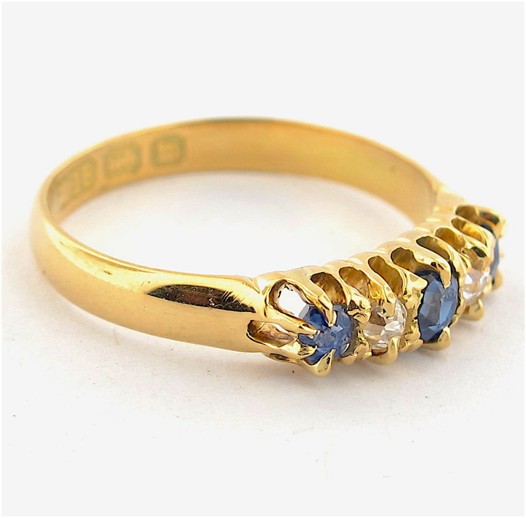 18ct yellow gold antique sapphire and diamond set ring image 1