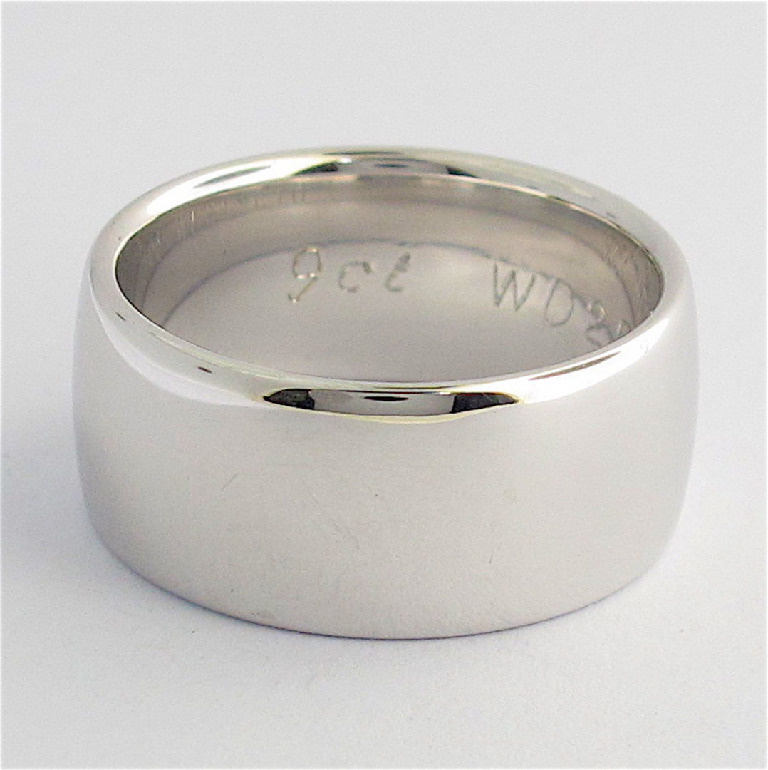 9ct solid white gold band image 0
