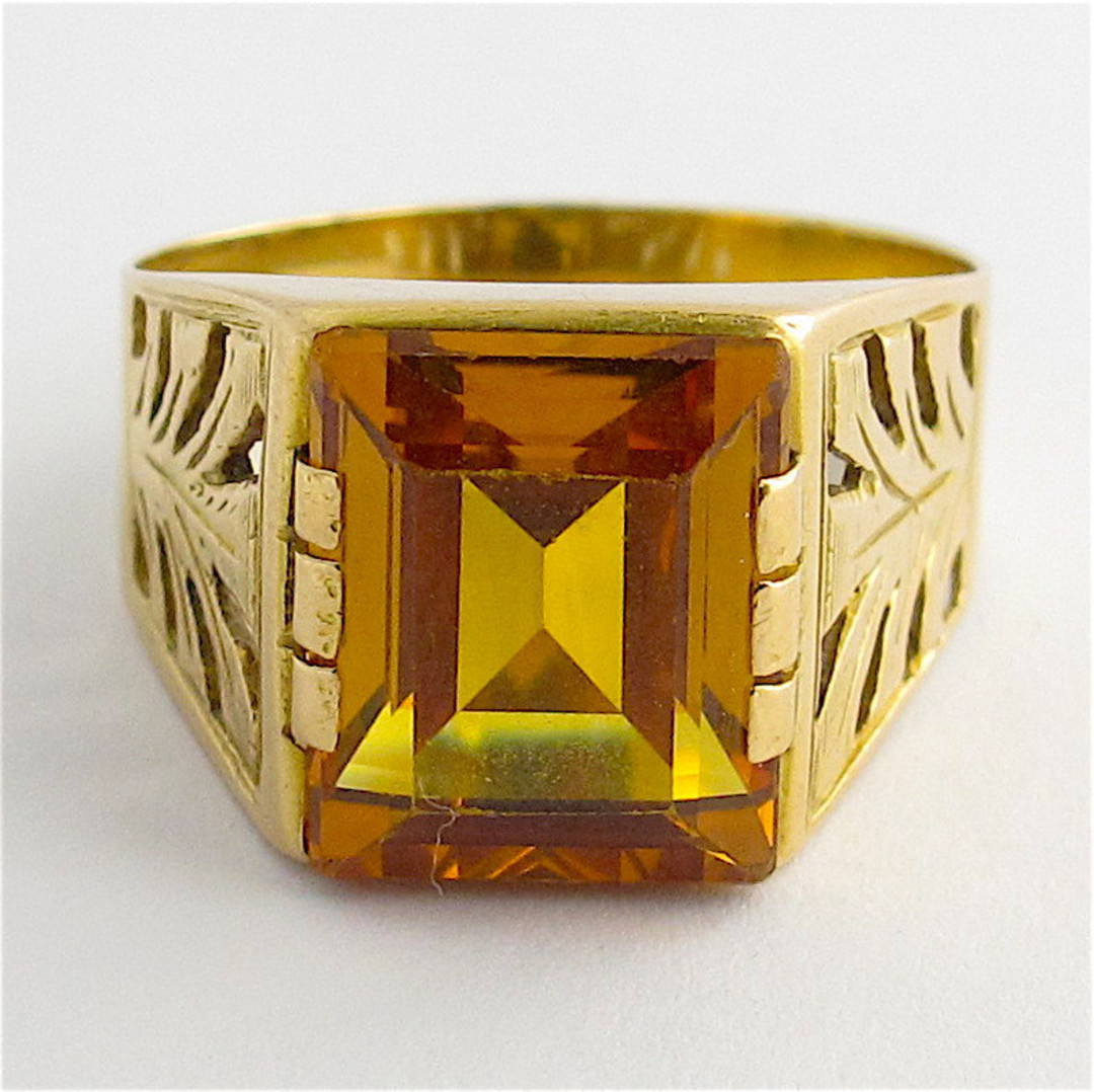 18ct yellow gold and synthetic sapphire ring image 1