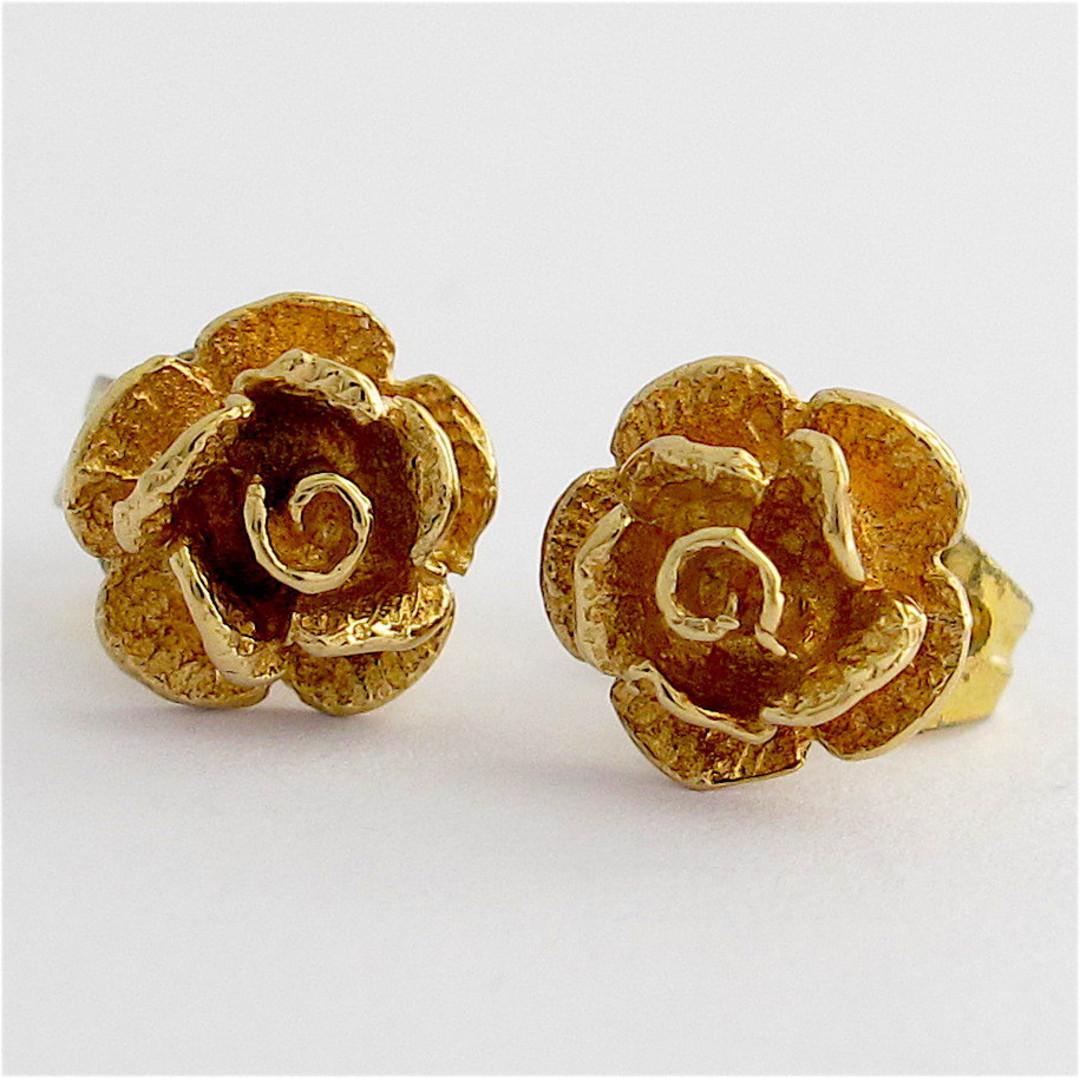 9ct yellow gold rose motif stud earrings image 0