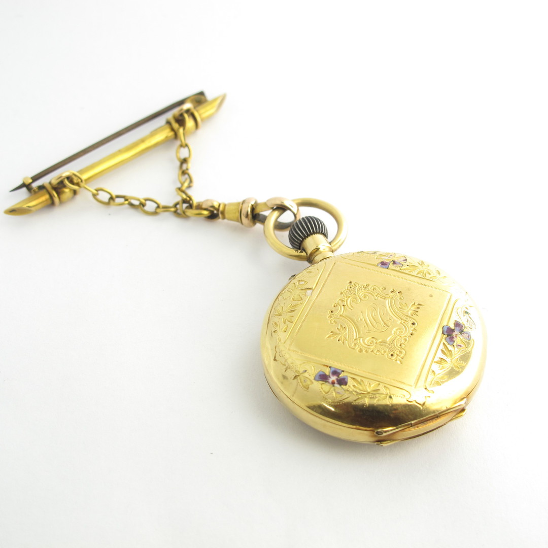 18ct yellow gold & enamel antique pocket watch with a 15ct yellow gold pin and chain image 1