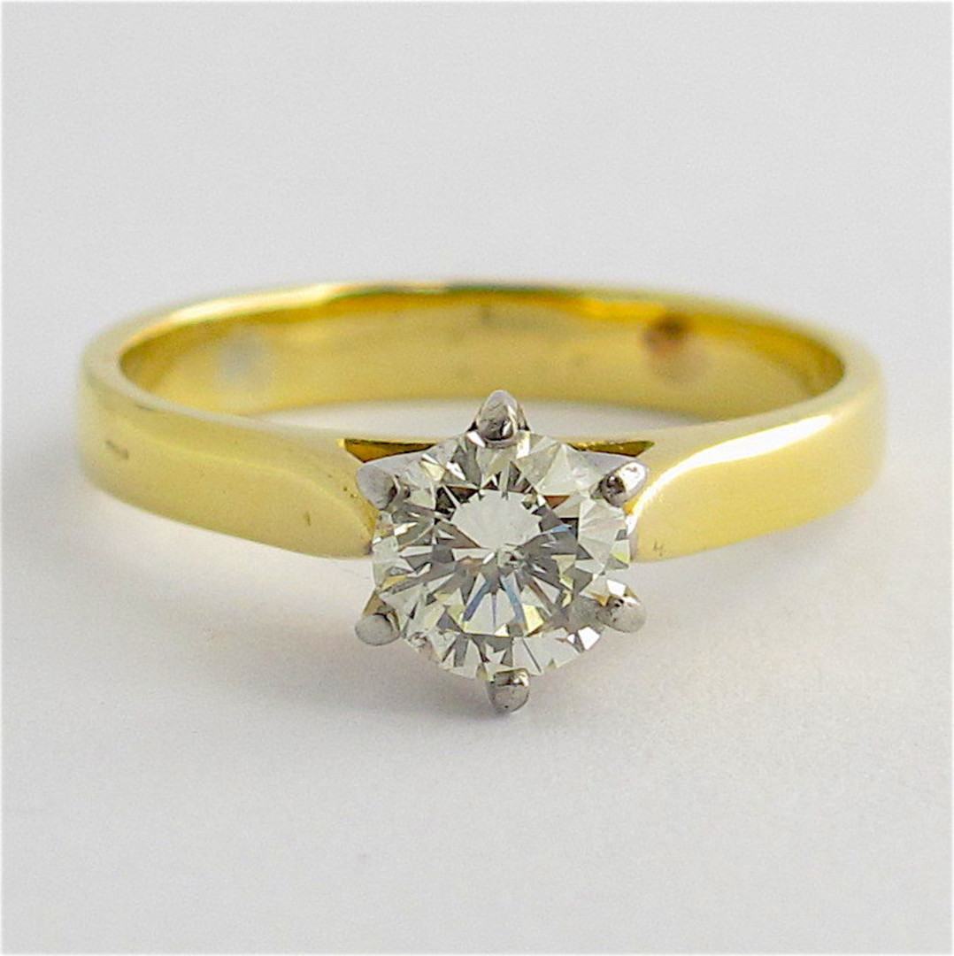 18ct yellow and white gold diamond solitaire ring image 0