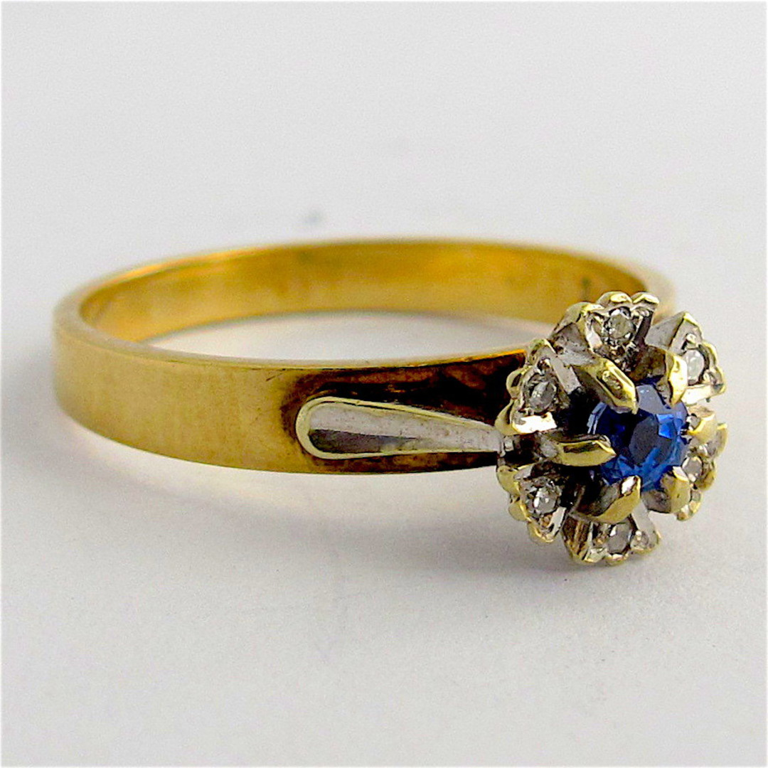 9ct yellow & white gold sapphire and diamond ring image 1