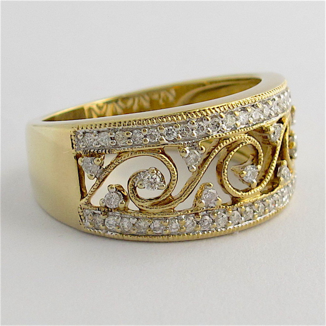 9ct yellow and white gold patterned open band multi diamond ring image 1