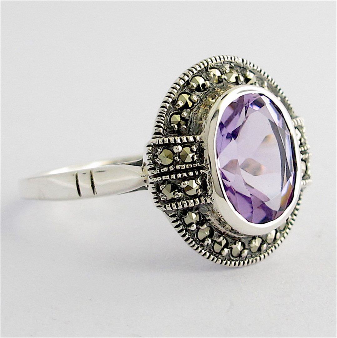 Sterling silver oval amethyst and marcasite ring image 1
