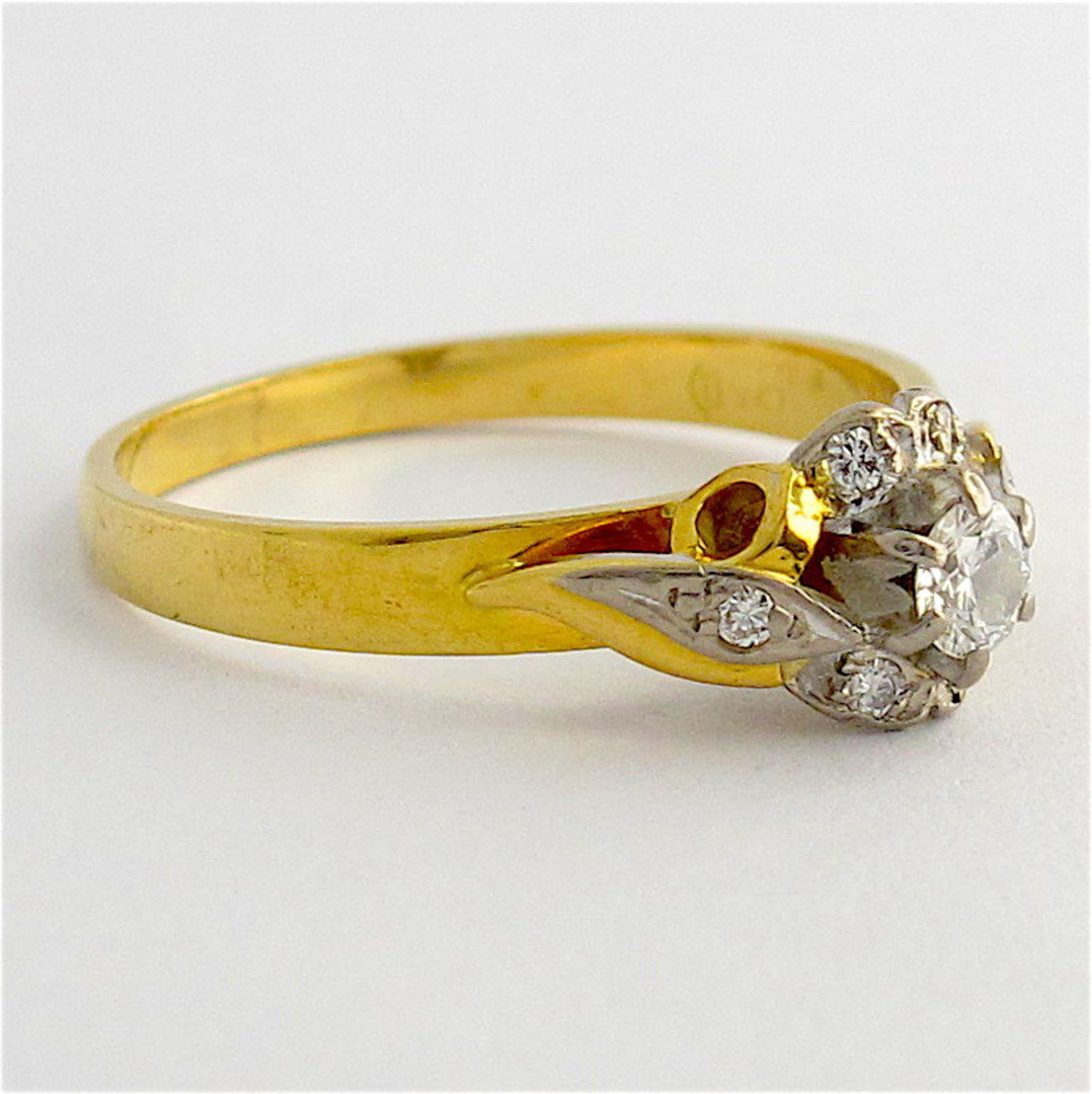 18ct yellow/white gold vintage diamond cluster ring image 1