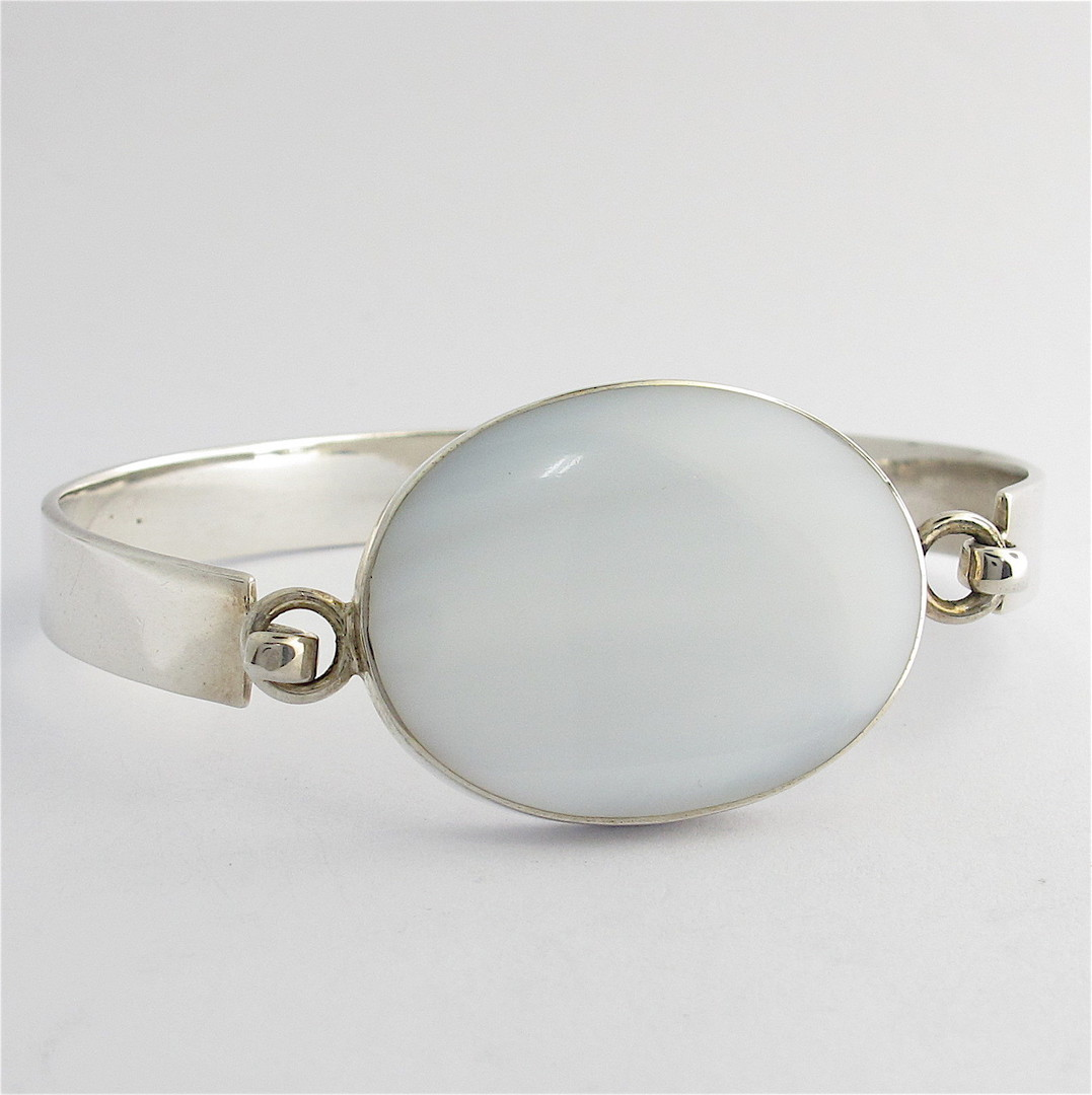 Sterling silver mother of pearl set bracelet image 0