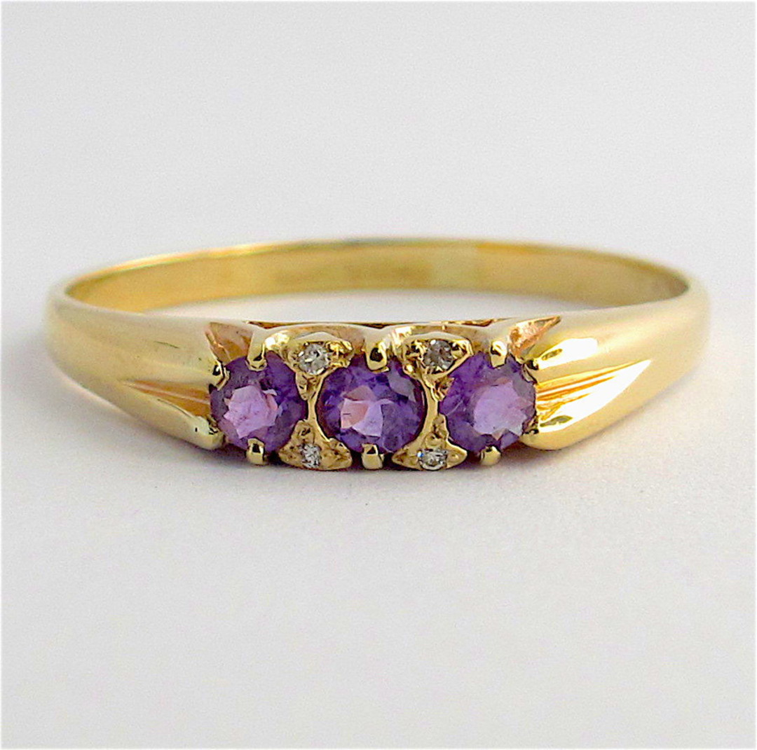 9ct yellow gold amethyst and diamond dress ring image 0