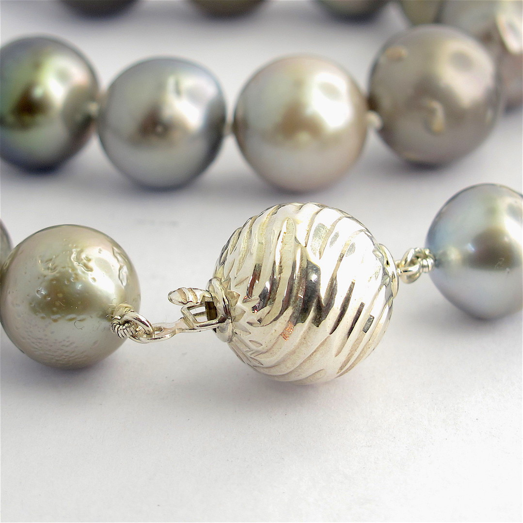 Graduated South Sea black cultured pearl necklace image 1