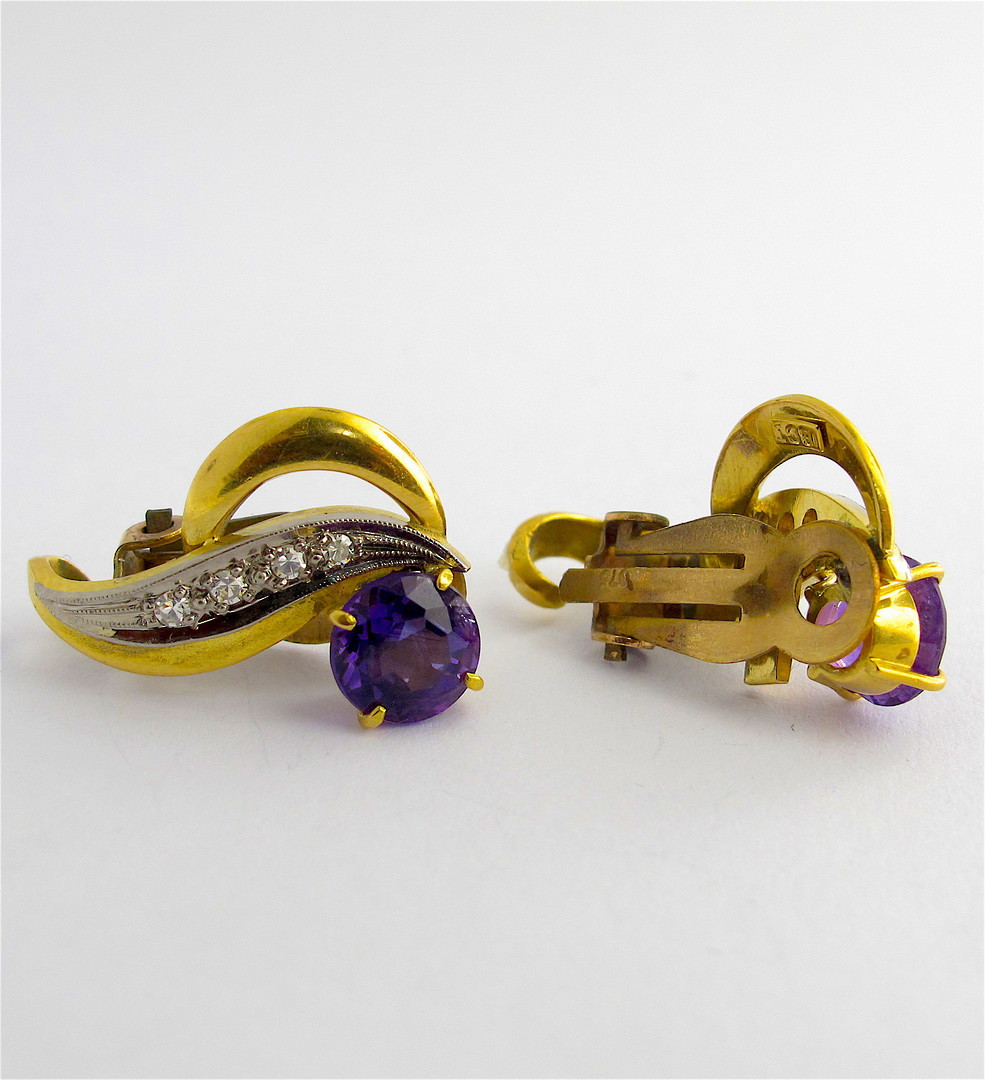 9ct yellow and white gold amethyst and diamond clip on earrings image 1