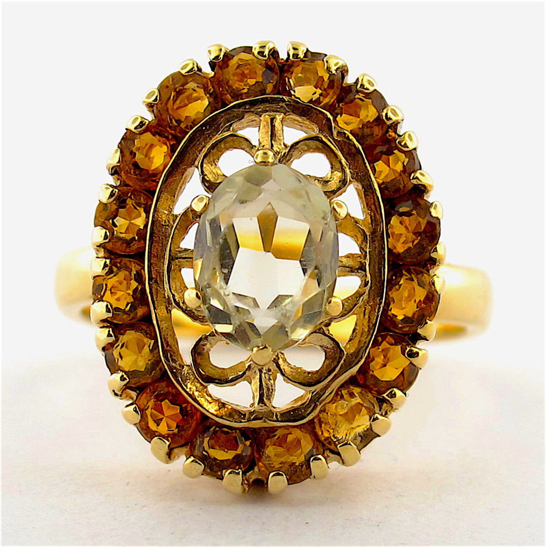 9ct yellow gold light peridot and citrine ring image 0