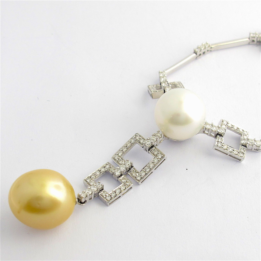 18ct white gold diamond and pearl set necklet image 0