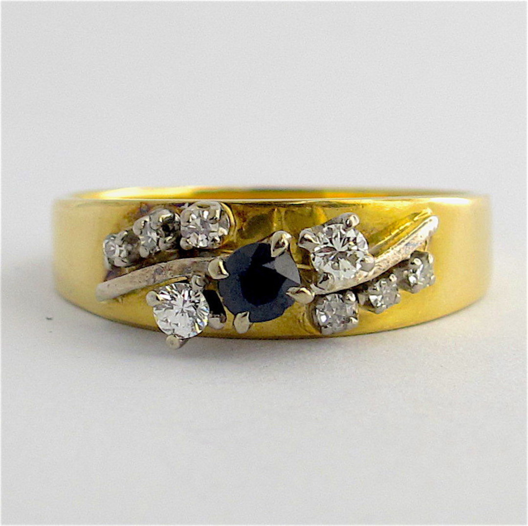 18ct yellow and white gold sapphire and diamond ring image 0