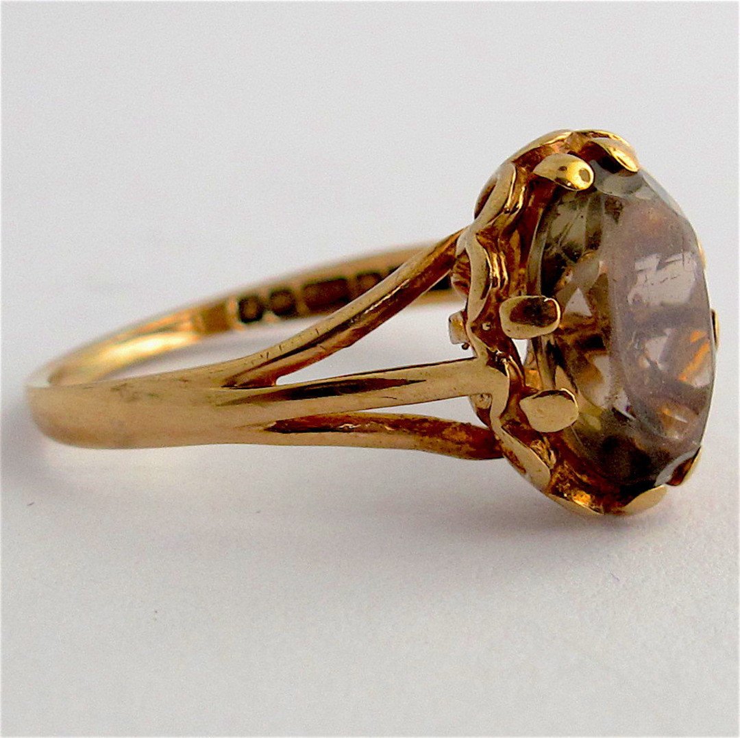 9ct yellow gold vintage smokey quartz ring image 1
