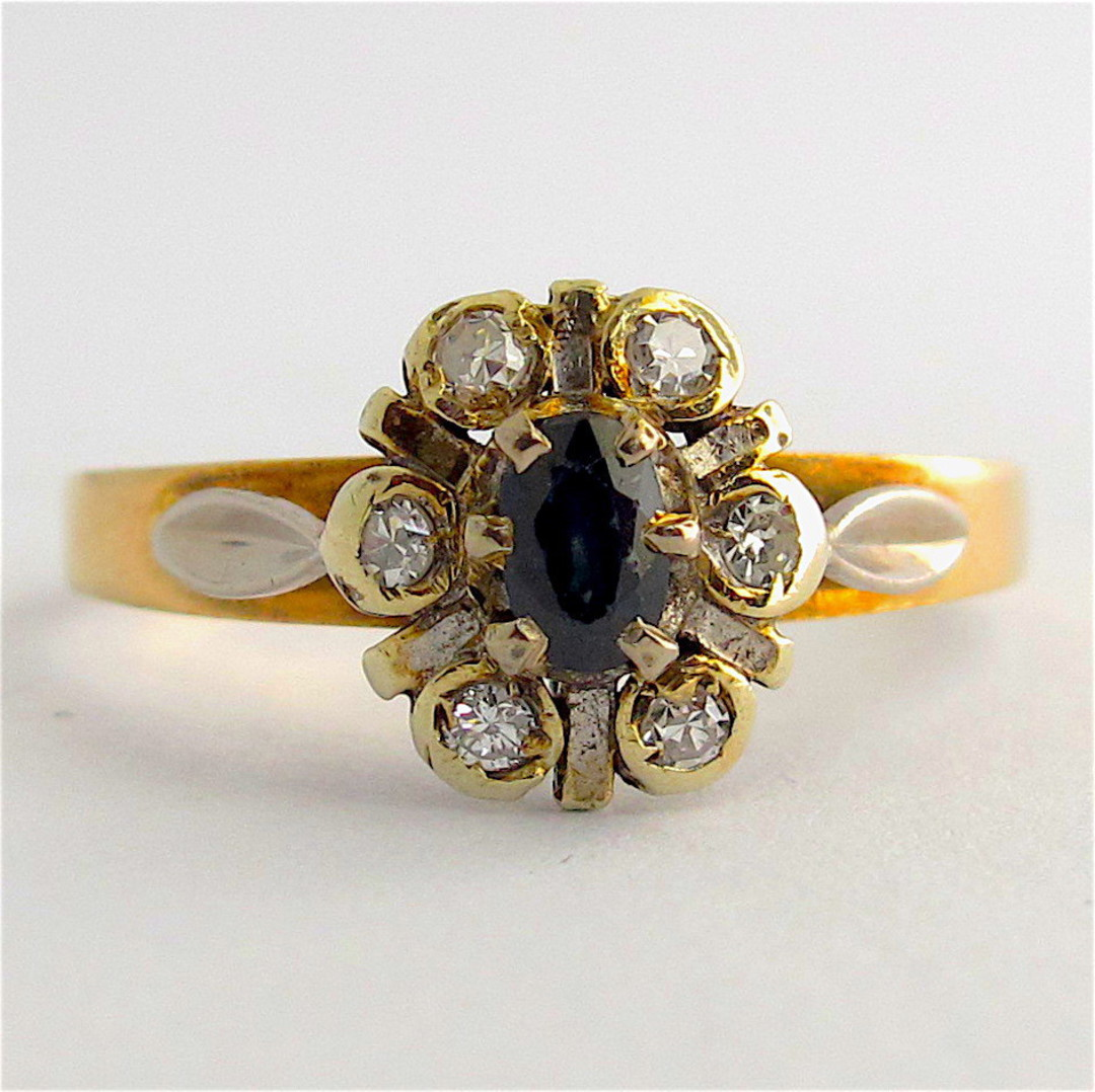 9ct yellow and white gold sapphire and diamond cluster ring image 0