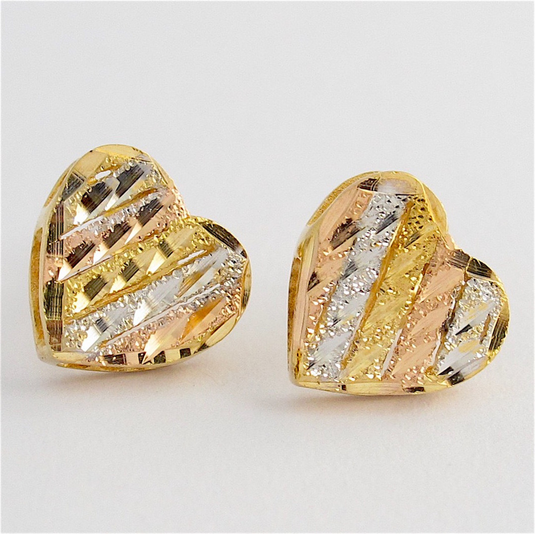 18ct tri-tonal heart shaped stud earrings image 0