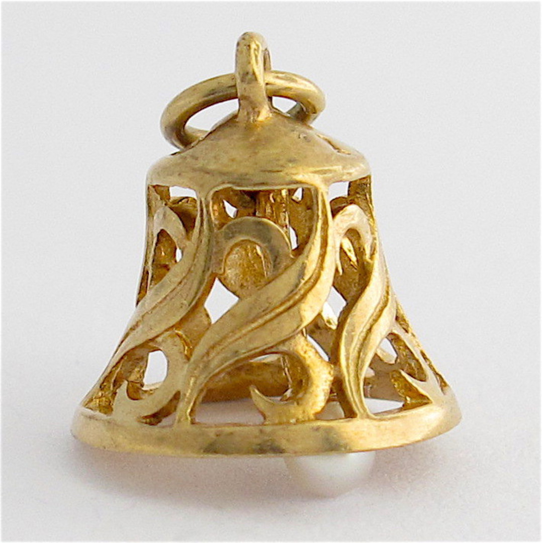 9ct yellow gold and pearl bell charm image 0