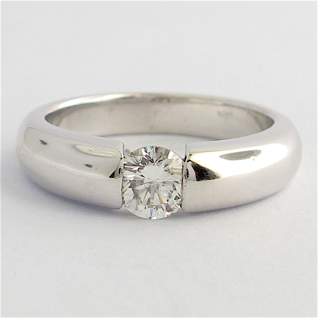18ct white gold diamond solitaire ring image 0