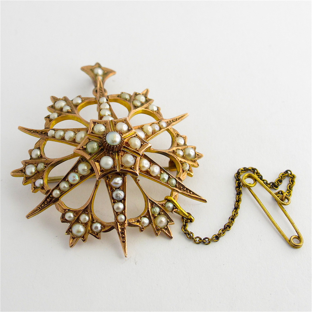 9ct yellow gold antique seed pearl brooch/pendant image 0