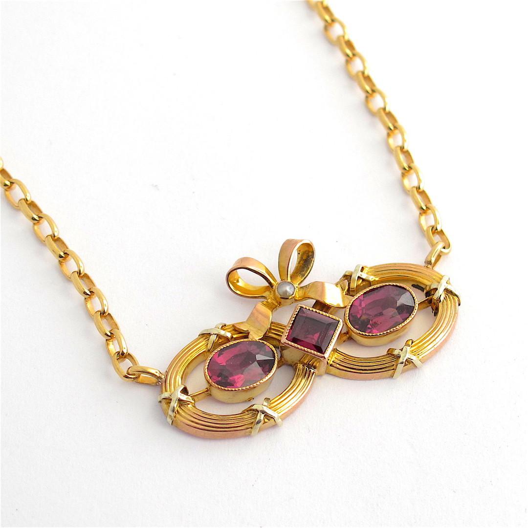 9ct yellow over rose gold antique rhodolite garnet and seed pearl necklace image 0