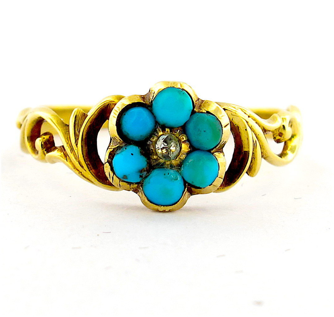 18ct antique yellow gold turquoise flower style ring image 0