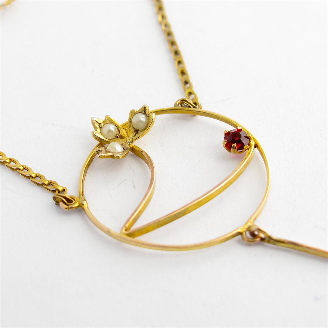 Antique 9ct yellow gold gem set necklace image 1