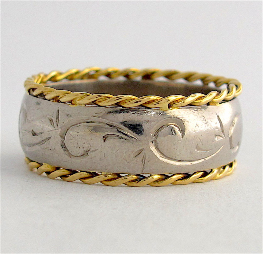 18ct yellow & white gold fancy band image 0