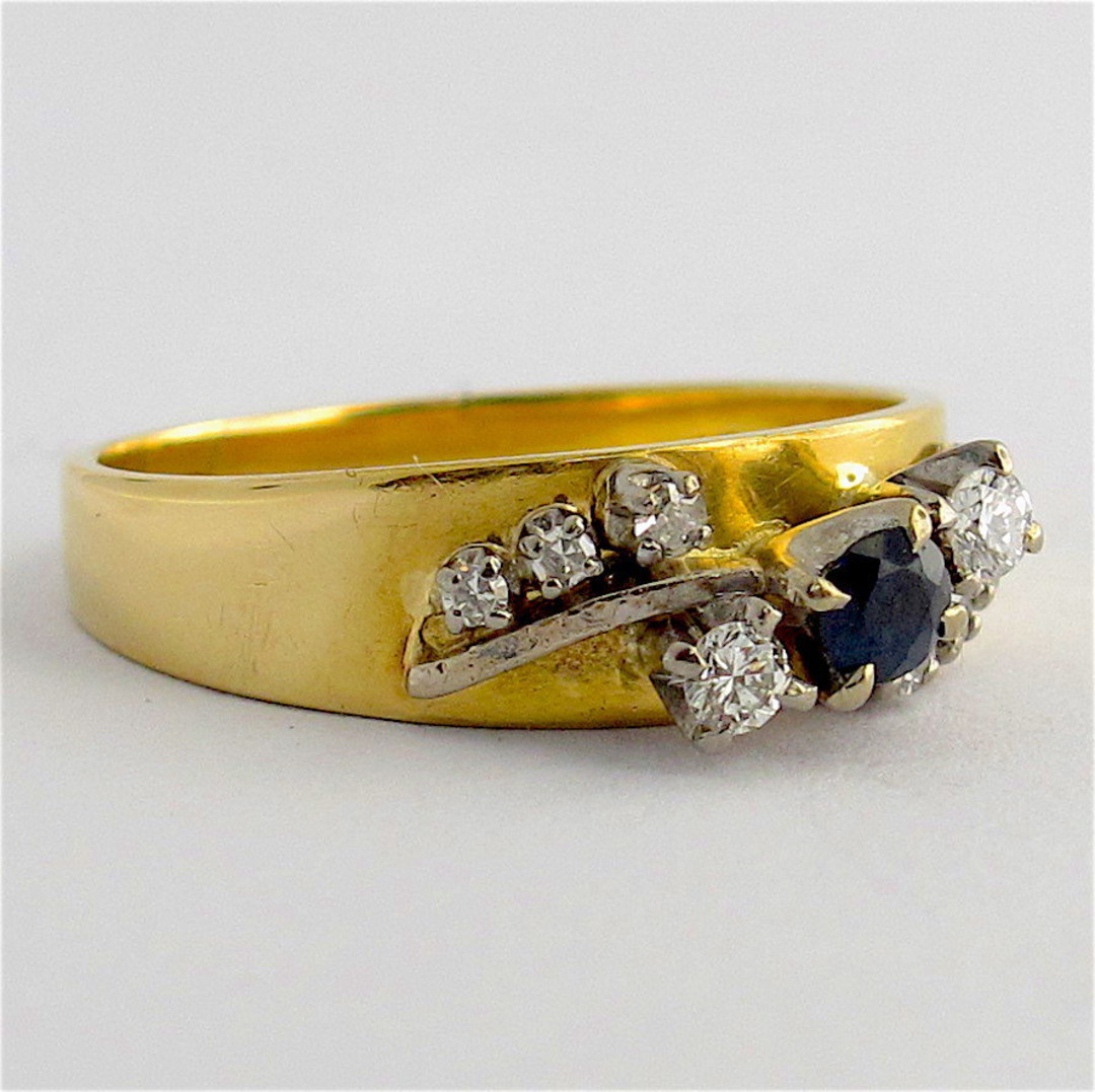 18ct yellow and white gold sapphire and diamond ring image 1