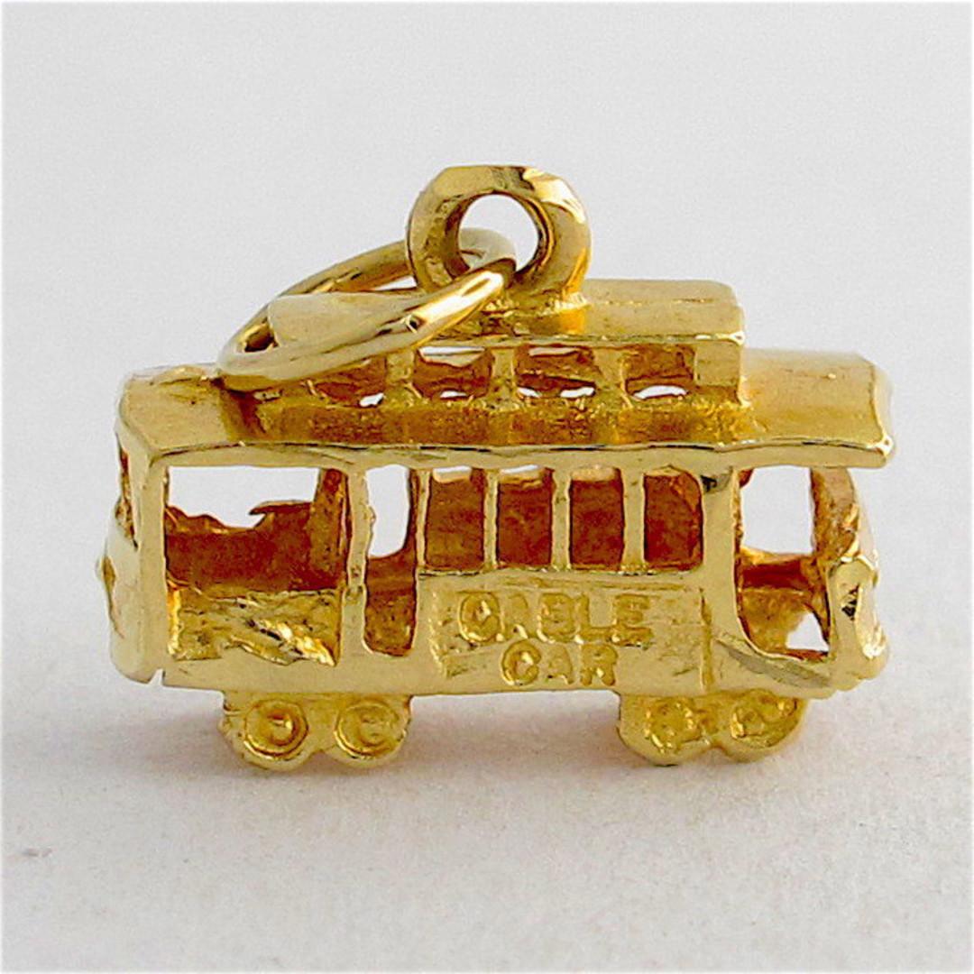 14ct yellow gold tram charm image 0