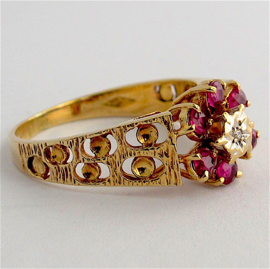 9ct yellow and white gold natural ruby and diamond flower cluster ring image 1