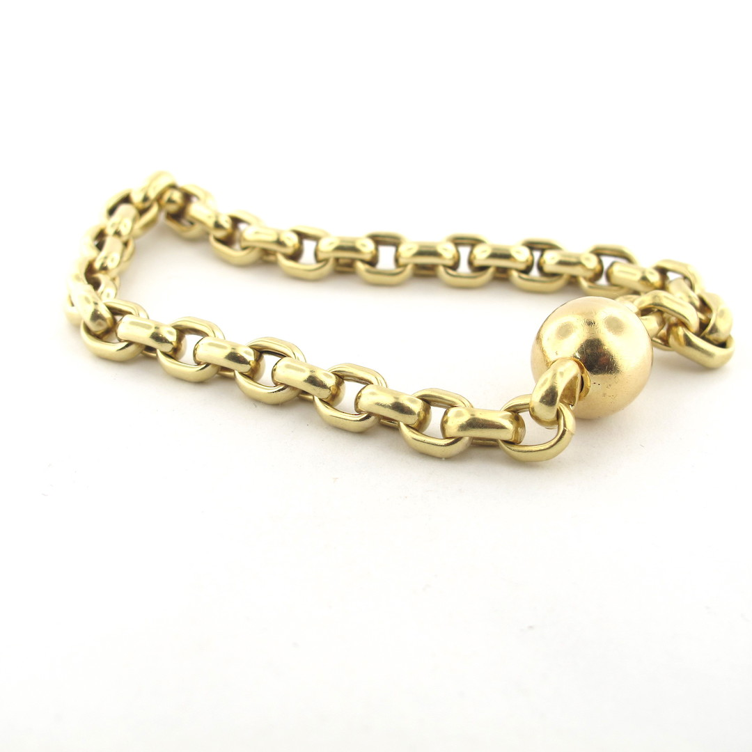 9ct yellow gold oval belcher link bracelet image 0