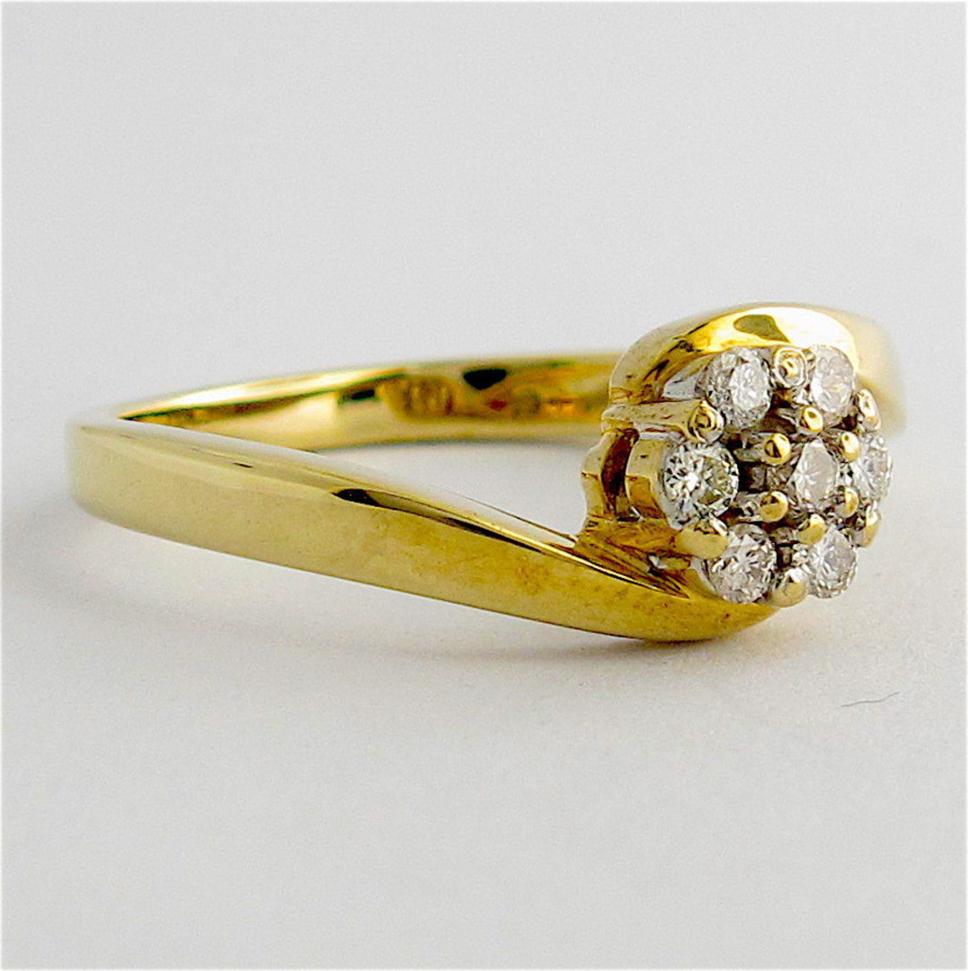 9ct yellow gold diamond cluster style ring image 1