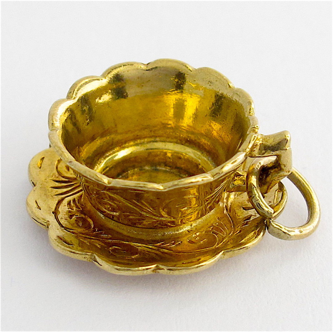 9ct yellow gold teacup charm image 2