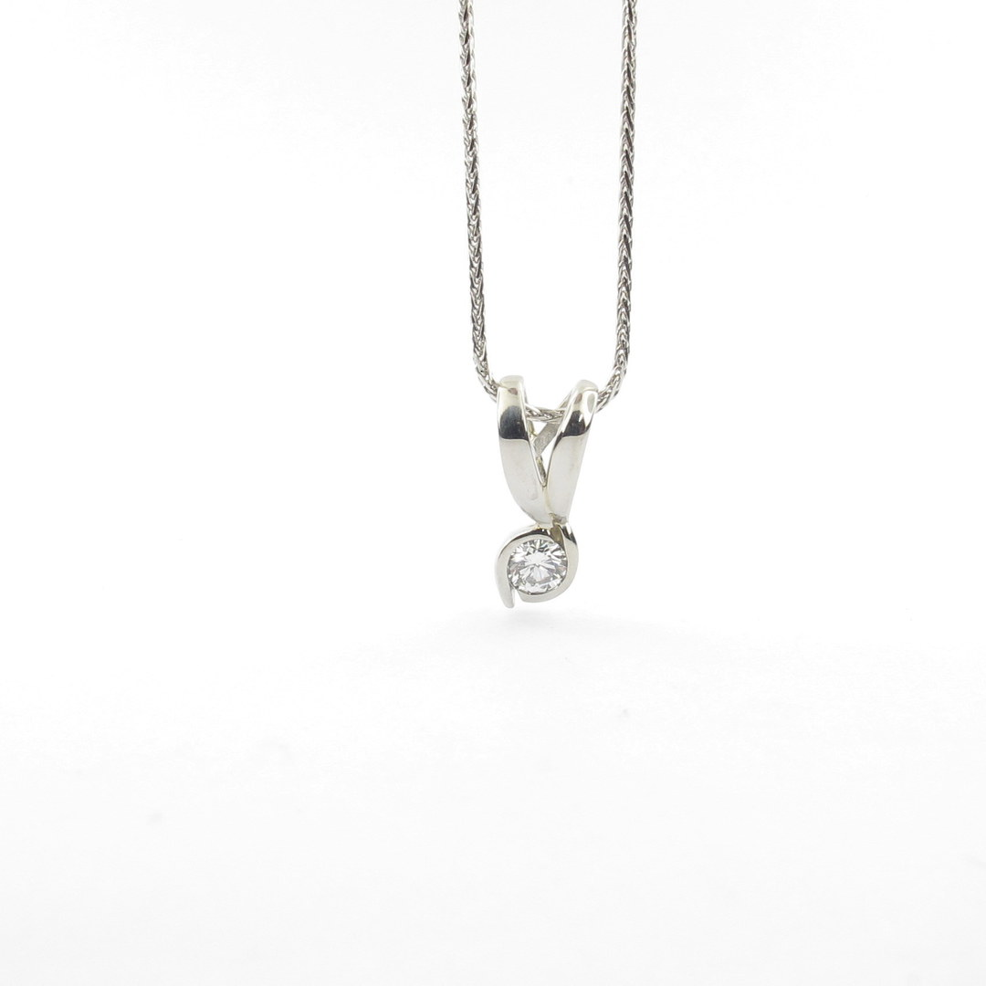 Platinum diamond set pendant with 18ct white gold chain image 1