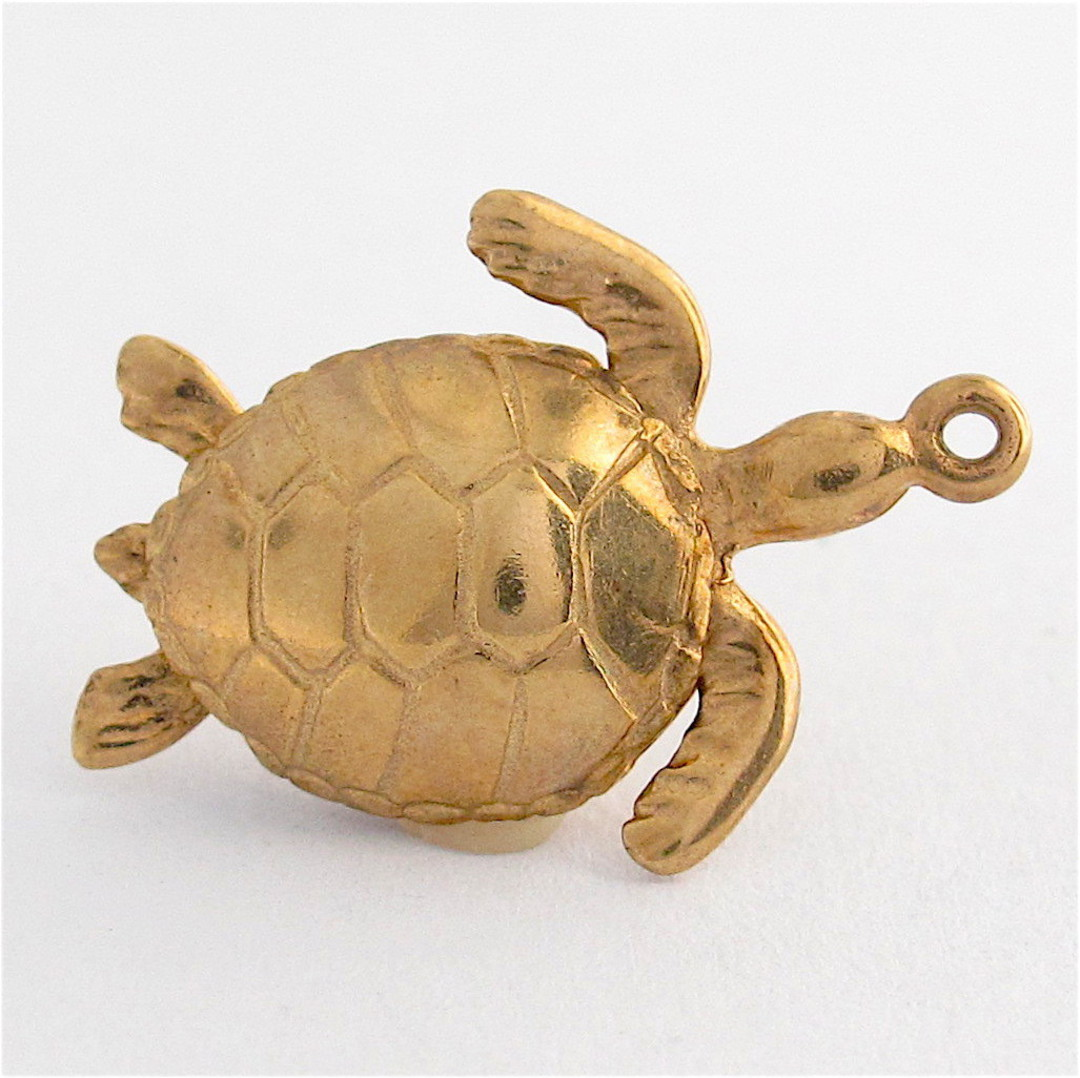 9ct yellow gold turtle charm image 0