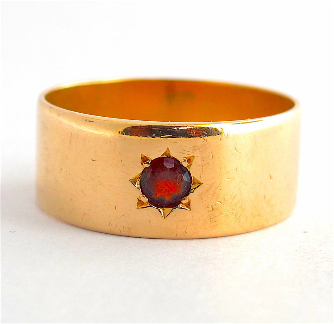 15ct yellow gold antique garnet set wide band image 0