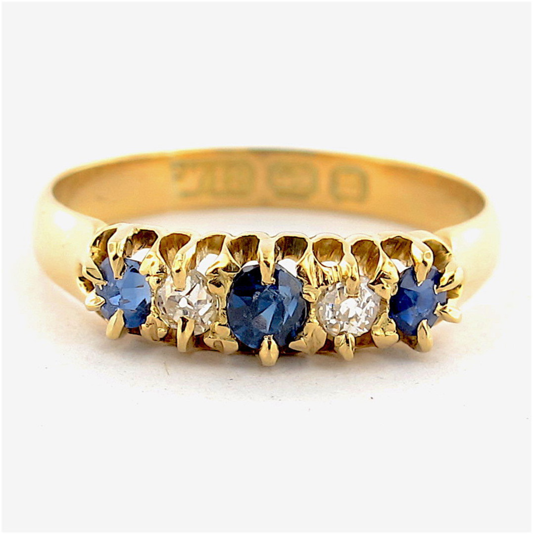 18ct yellow gold antique sapphire and diamond set ring image 0