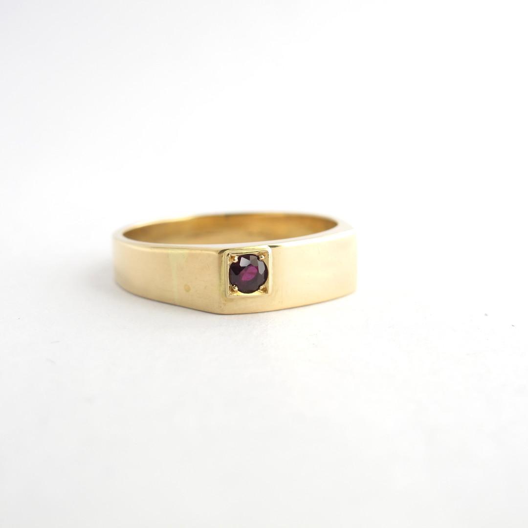 Men's 14ct yellow gold ruby set ring image 1