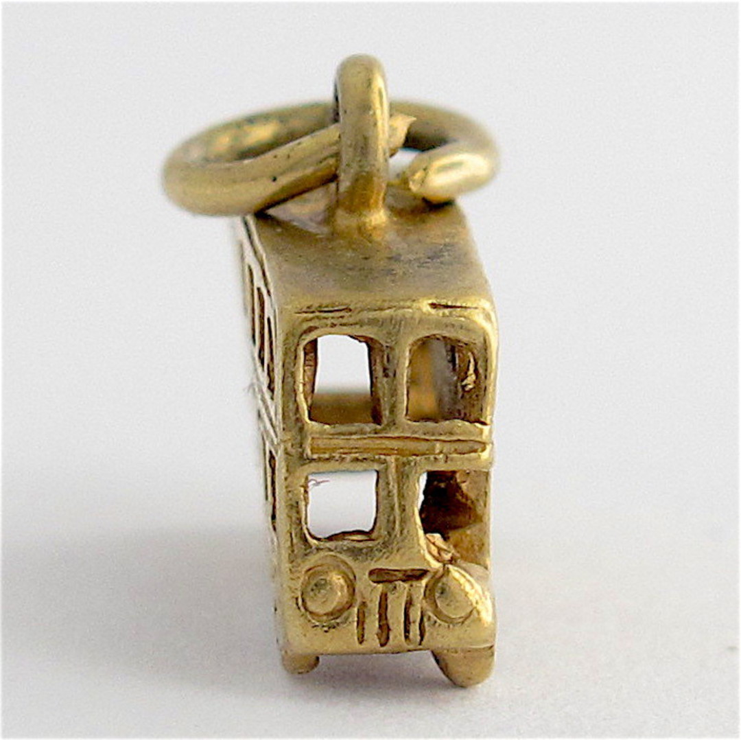 9ct yellow gold double decker bus charm image 1