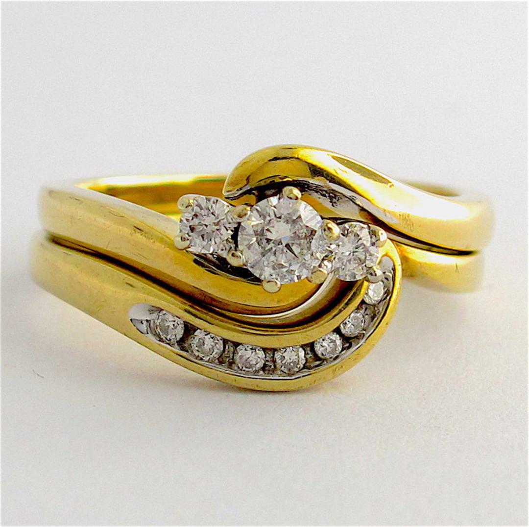 9ct yellow gold set of diamond rings image 0