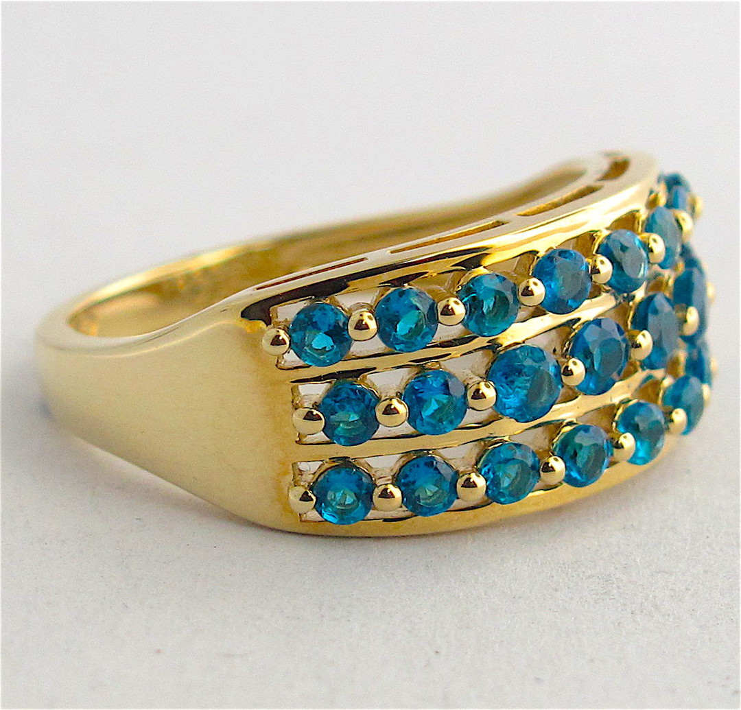 9ct yellow gold 3 row blue topaz dress ring image 1